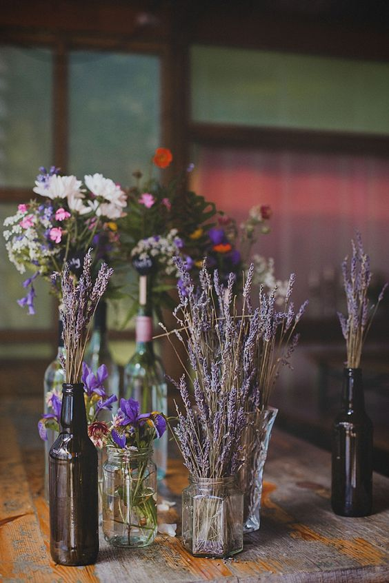 rustic styling bd vases dried lavender