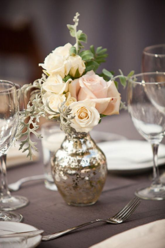 silver vases for wedding centrepieces