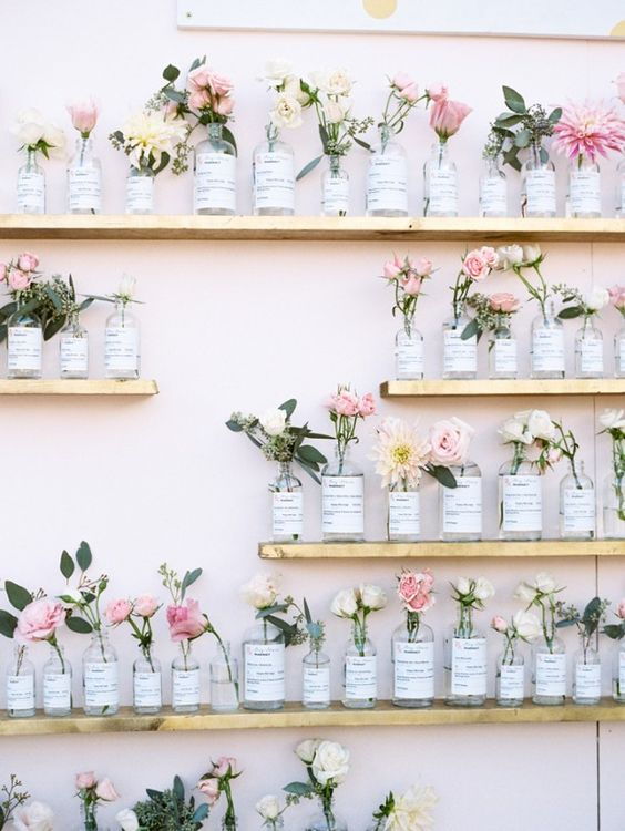 wedding table plan ideas for florists using bud vases