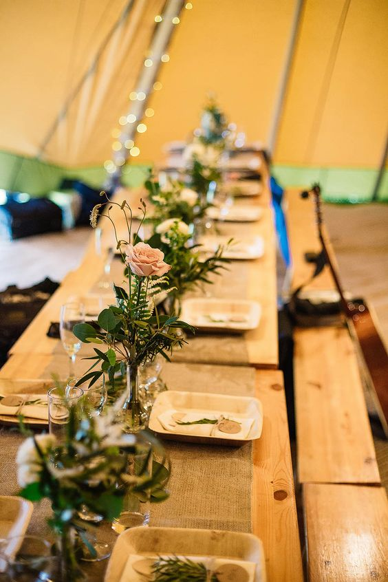 wedding tipi centrepiece ideas bud vases along the table