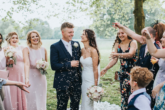 Summer wedding Birtsmorton Court confetti
