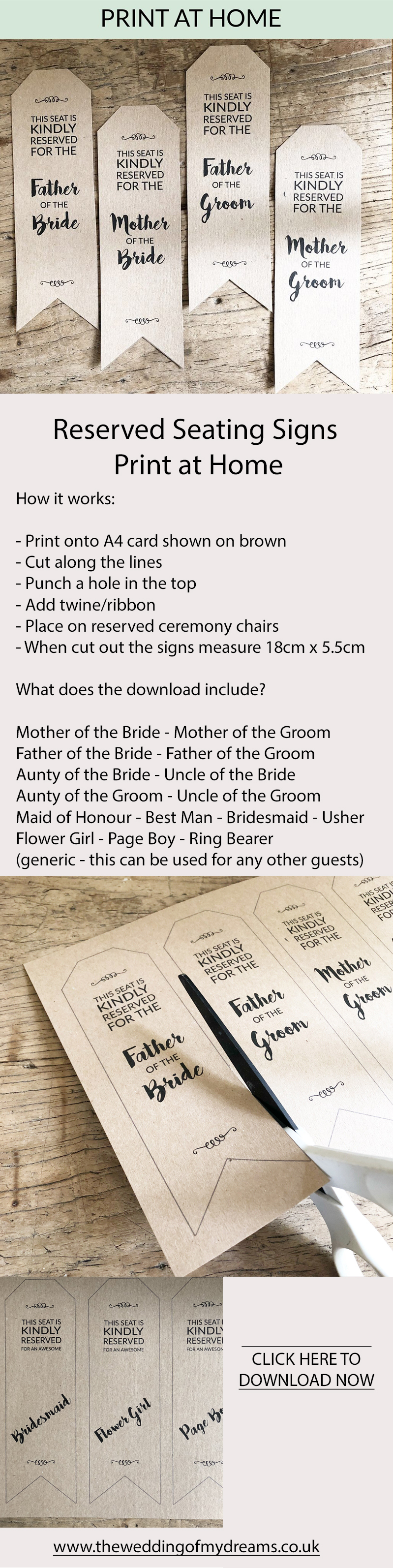 reserved seating signs wedding ceremony printables print at home