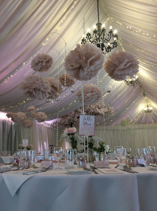 Marquee wedding hanging pom poms All Manor of Events Mar