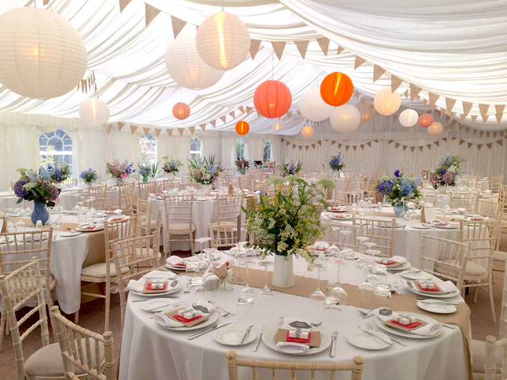 Marquee wedding hanging paper lanterns for ceiling Beaconside House