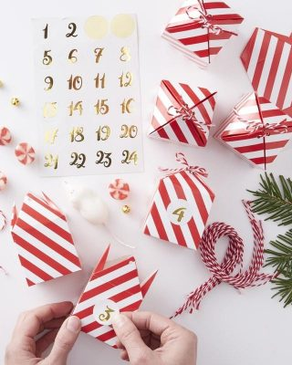 Fill your own advent calendar boxes red gold