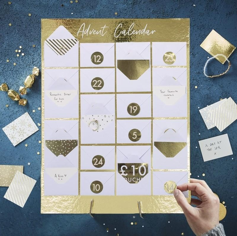 Fill your own advent calendar envelopes gold