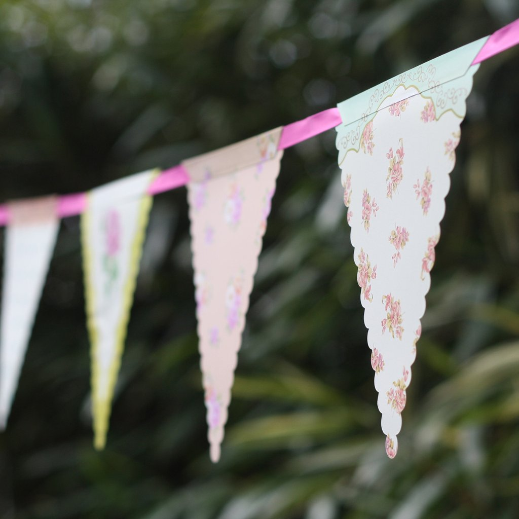Floral bunting paper bunting for marquee weddings