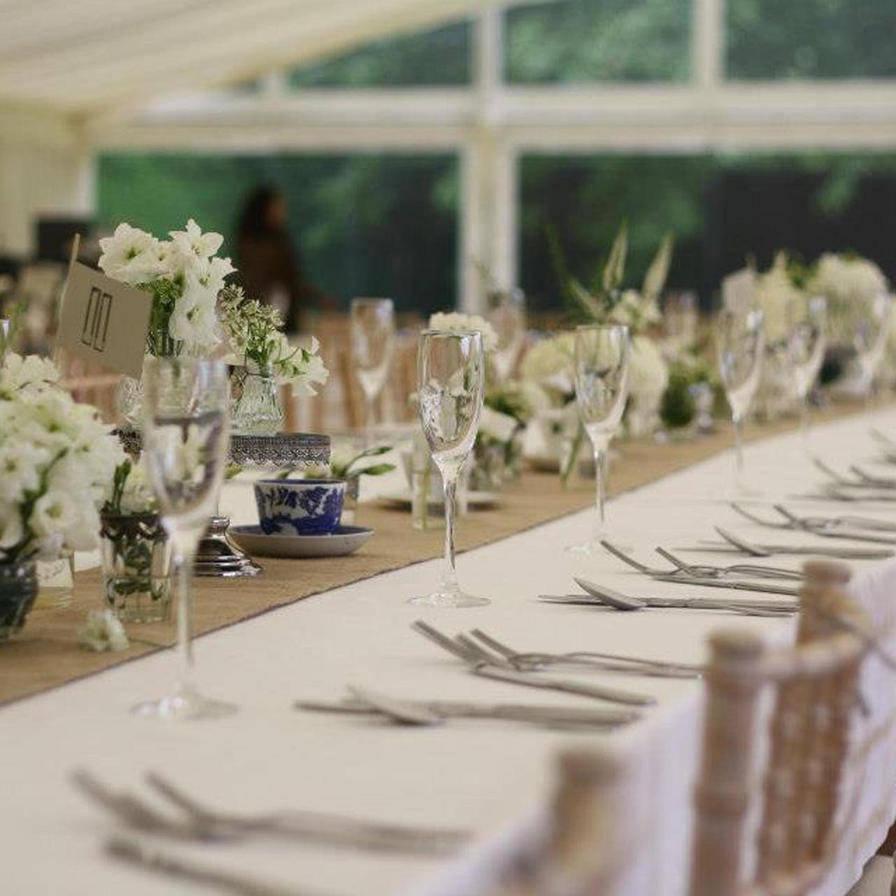 hessian wedding table runners for marquees with rustic look