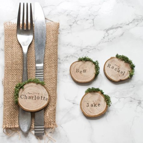 Rustic Wedding Place Settings Name Cards
