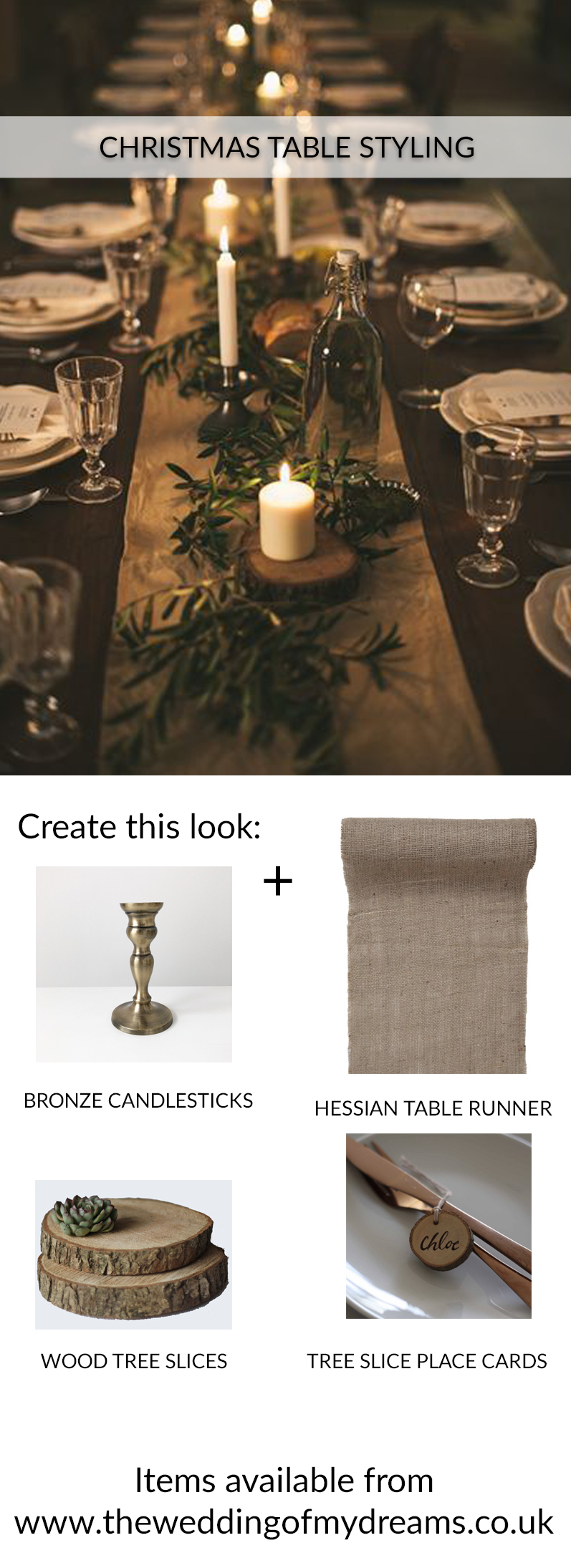 CHRISTMAS TABLE STYLING IDEAS RUSTIC BRONZE GOLD