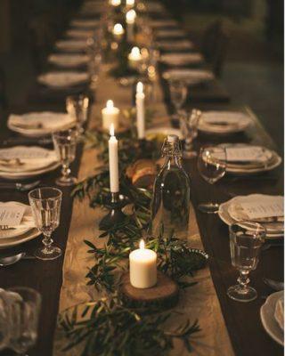 christmas farmhouse brass tablescape