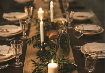 christmas farmhouse brass tablescape