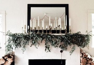 christmas fireplace brass candlesticks