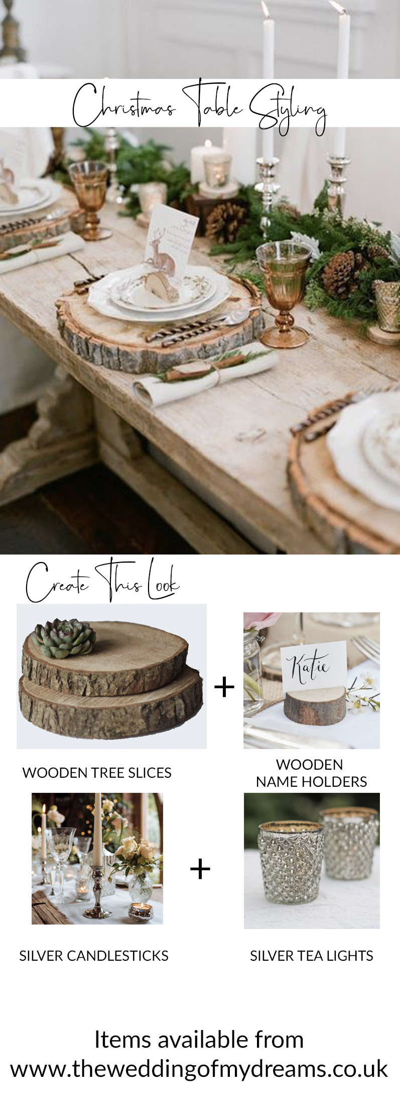 christmas table styling rustic woodland