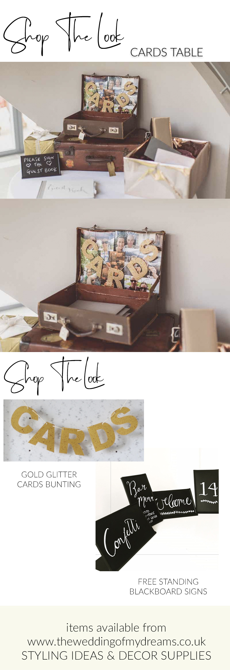 Cards table for weddings cards bunting suitcases and signs SHOP THE LOOK