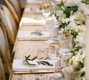 Glass and Gold wedding table styling