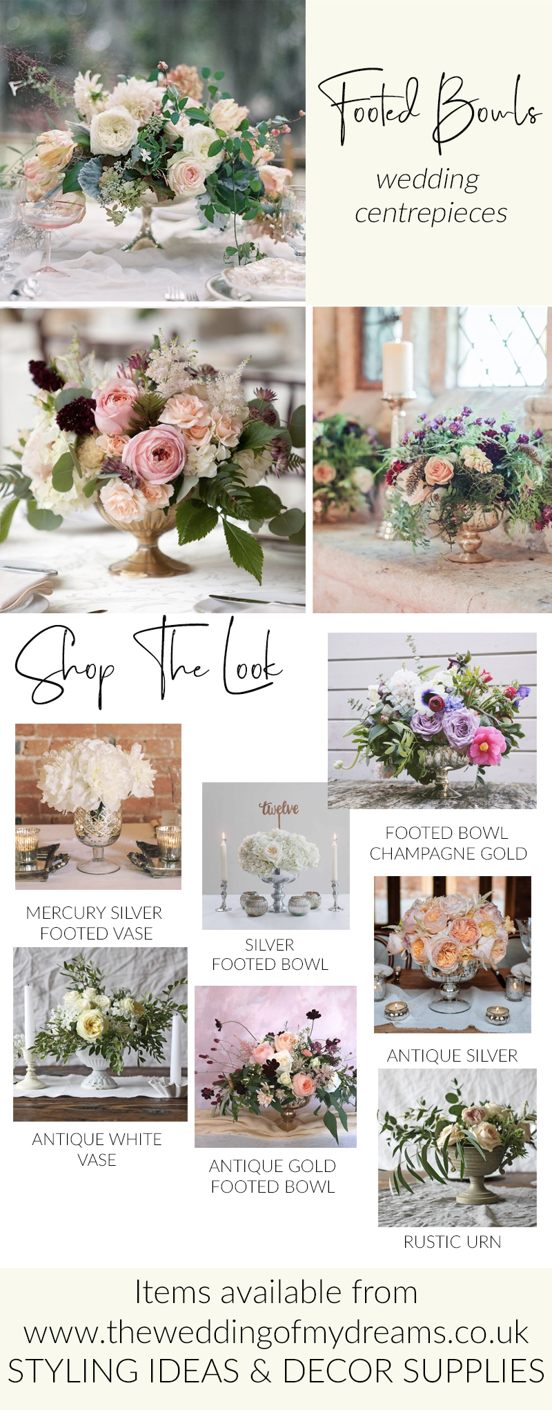 LOW WEDDING CENTREPIECES FOOTED BOWLS