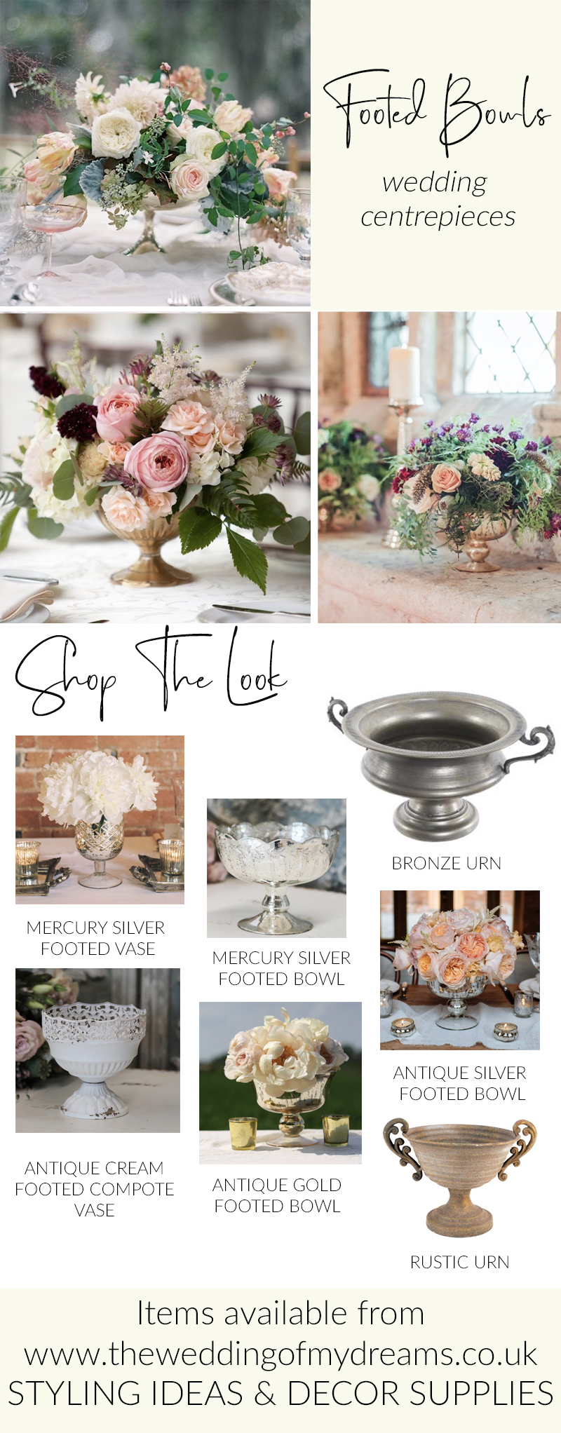 Low wedding centrepieces footed bowls The Wedding of my Dreams WEDDING STYLING IDEAS AND DECOR SUPPLIES UK