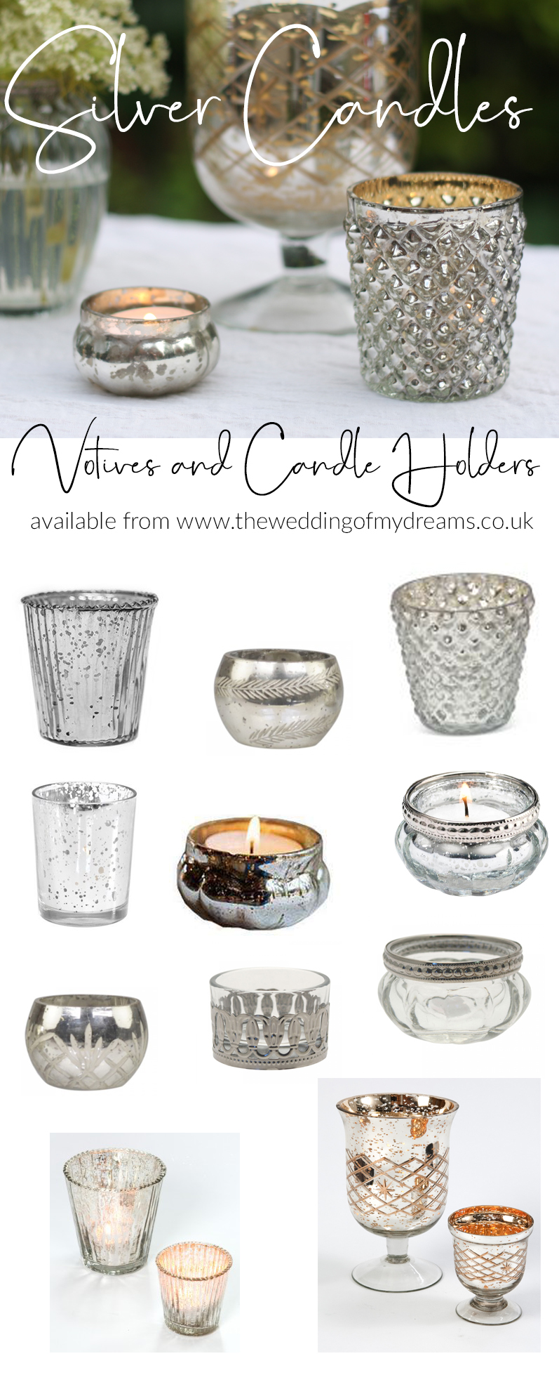 Silver candle holders votives and tea light holders from THE WEDDING OF MY DREAMS silver wedding styling