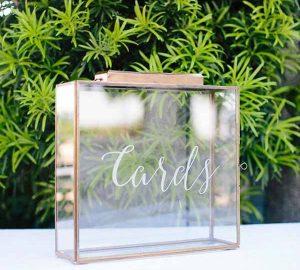 barn wedding gold cards box
