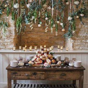 barn wedding hanging flowers installation