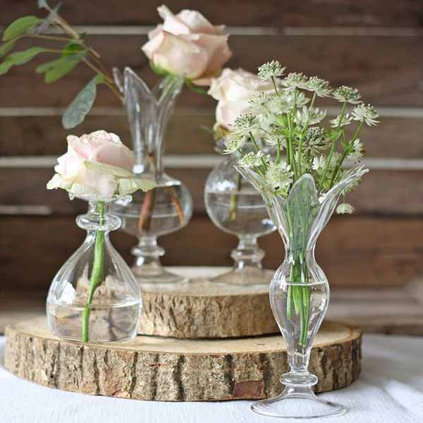 barn wedding ideas tree slice centrepieces
