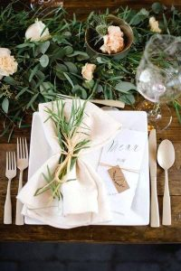 barn wedding place settings with twine