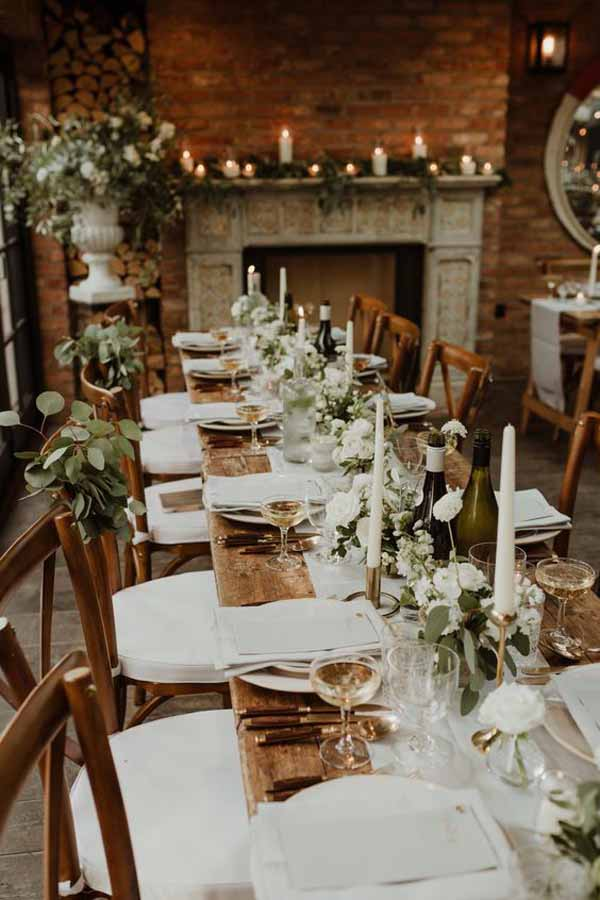 barn wedding with gold styling