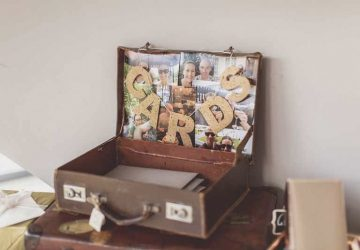 cards bunting wedding table suitcases