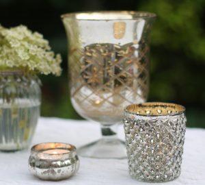 silver tea light holders wedding styling
