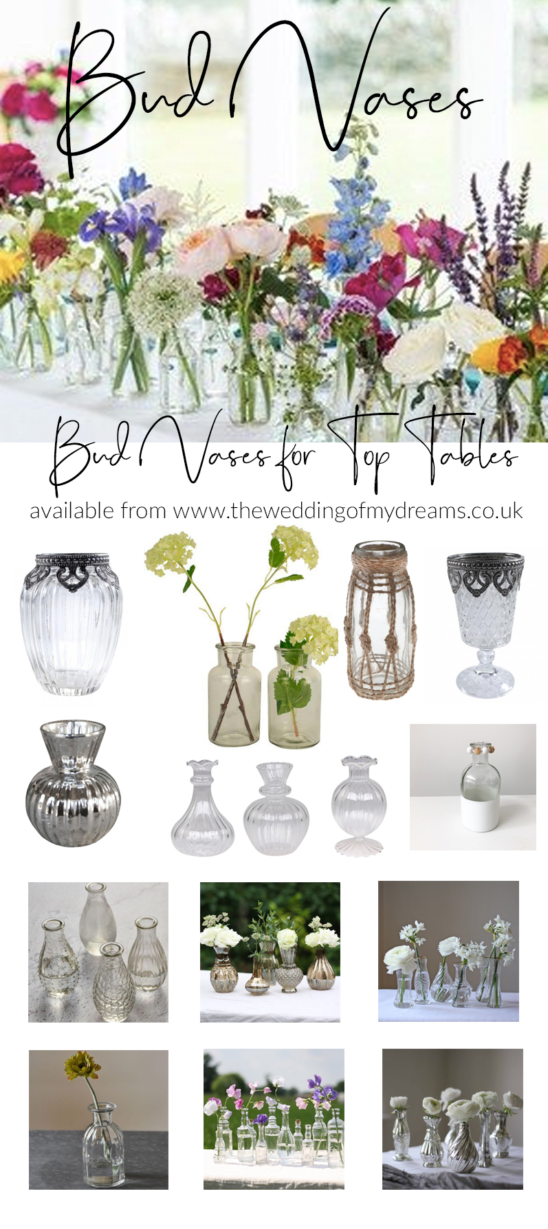 Glass bud vases for wedding top tables from THE WEDDING OF MY DREAMS wedding styling