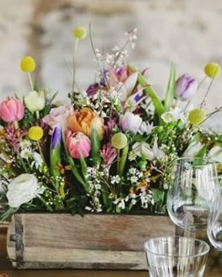 Spring wedding centrepieces in brick moulds by The Wedding of my Dreams