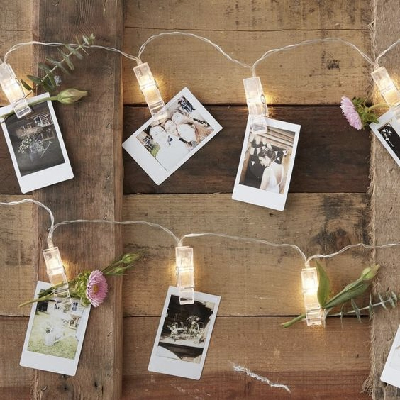 wedding ideas photos of guests pegged around the reception