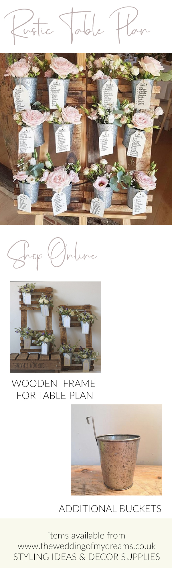 Rustic wooden wedding table plans available from The Wedding of my Dreams