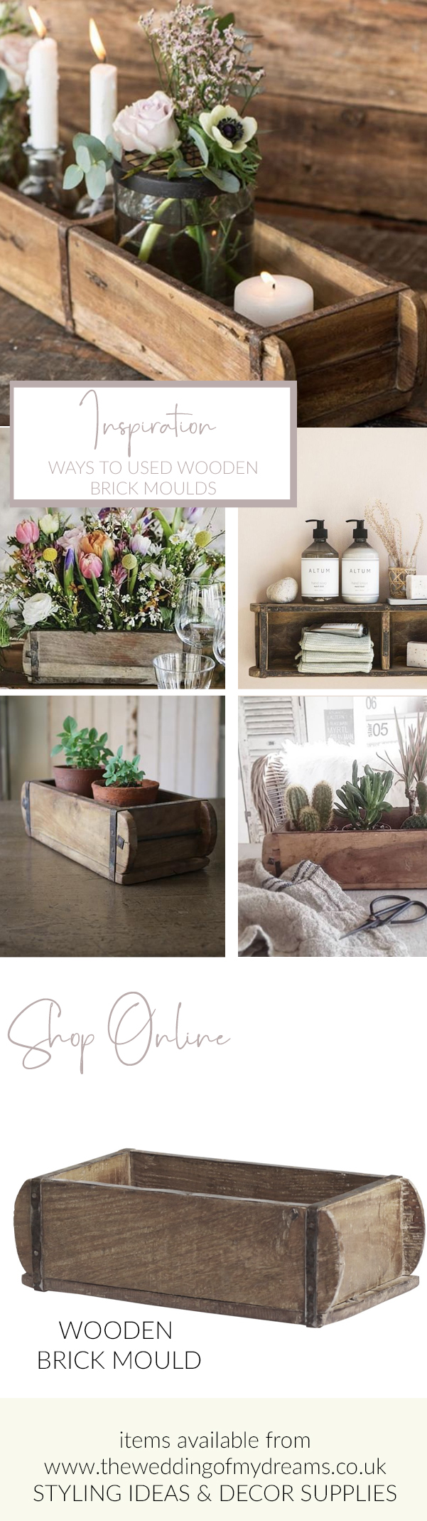 Ways to use wooden brick moulds at wedding decorations and home styling