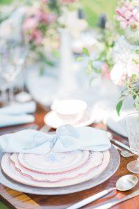 blue napkin wedding place settings summer wedding