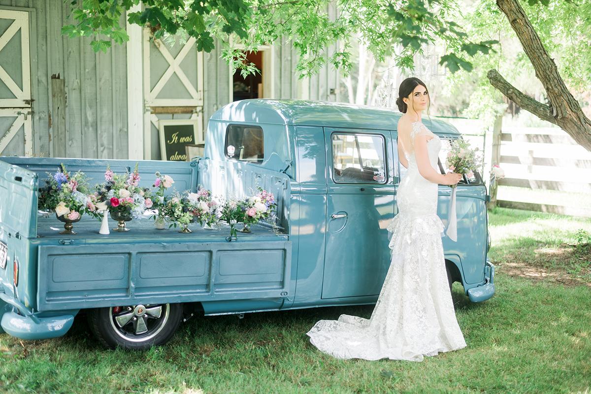 blue wagon wedding car