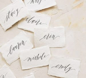elegant sophisticated calligraphy place cards