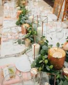 foliage garlands down long guest tables wedding styling