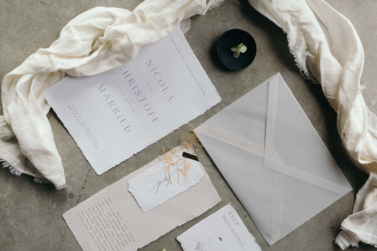 french inspired wedding stationery collection cotton handmade paper with torn edges