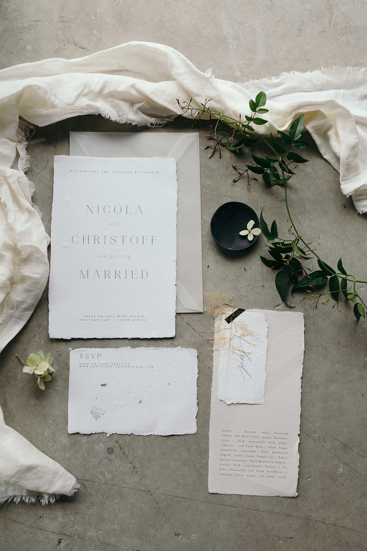 french inspired wedding stationery cotton handmade paper with torn edges