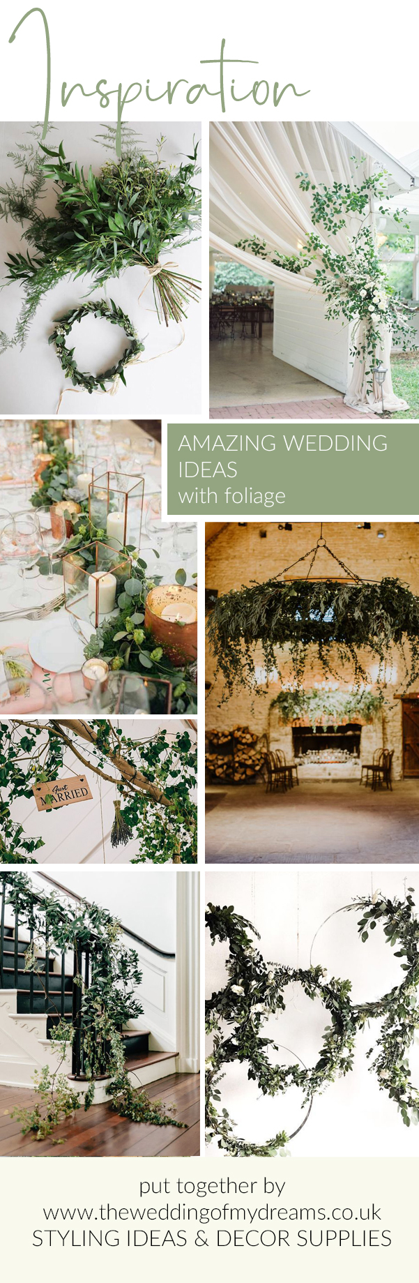 greenery foliage wedding ideas venue styling decorations The Wedding of my Dreams