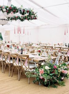 hanging wild flowers in marquee
