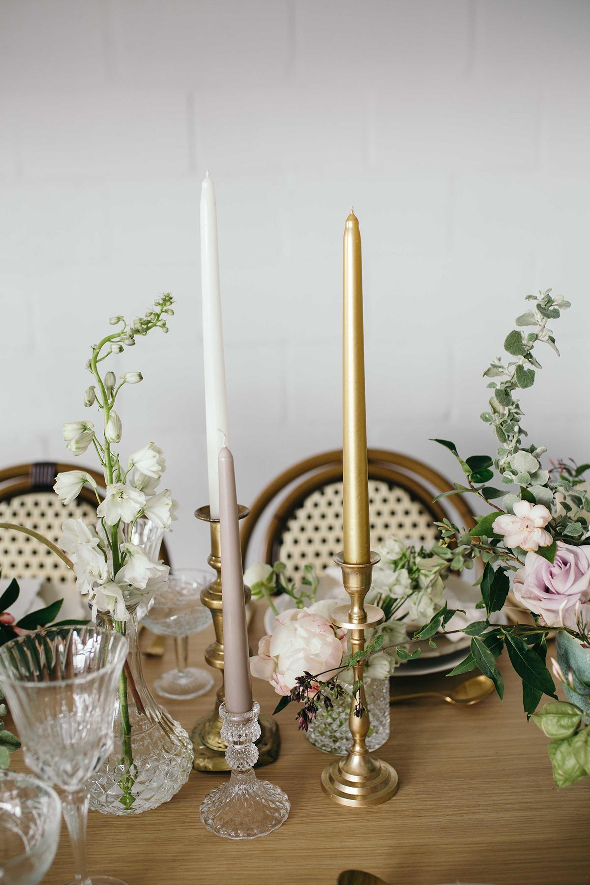 pressed glass and gold wedding candlesticks soft romantic wedding shoot