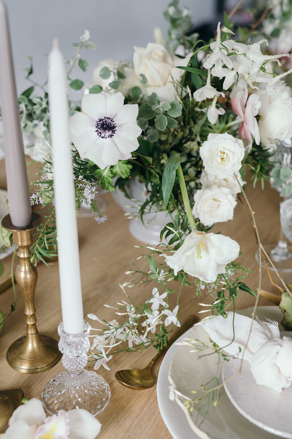 pressed glass and gold wedding styling with candlesticks soft romantic wedding shoot