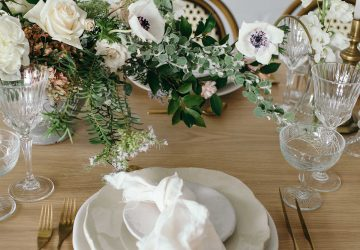 soft romantic wedding place settings napkin knotted on plate