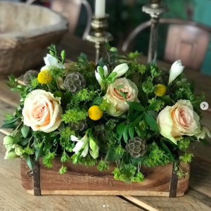 wooden brick mould with flowers