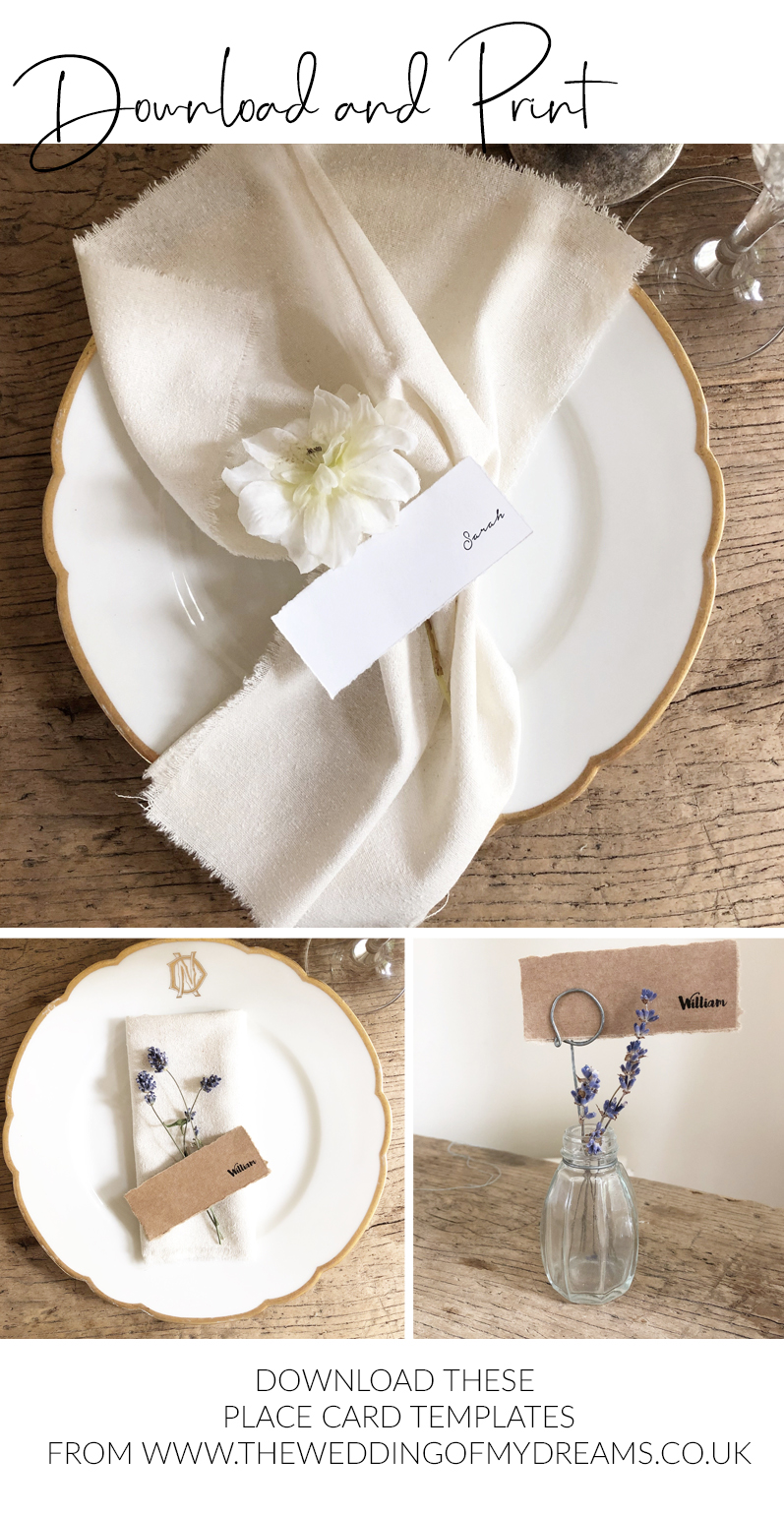 Wedding place cards template download and print