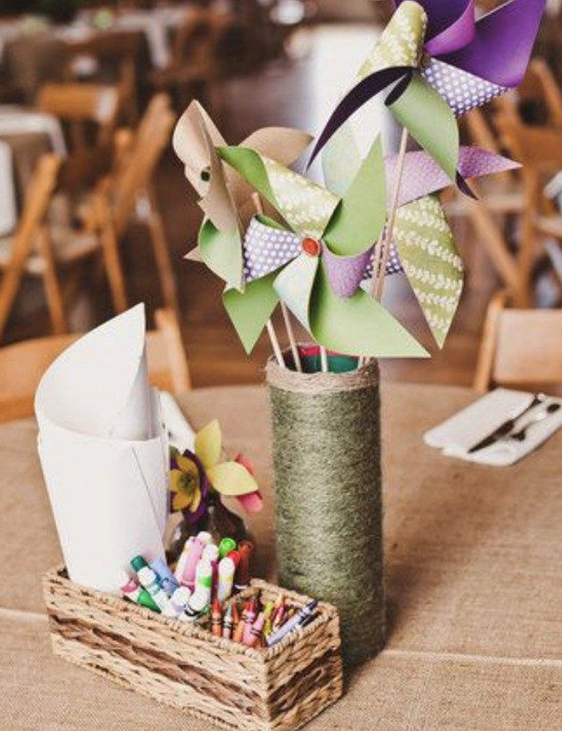 Kids table wedding centrepiece ideas colours crayons