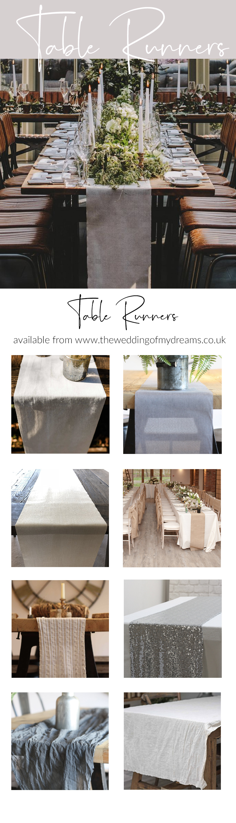 Table runners for weddings from THE WEDDING OF MY DREAMS wedding styling
